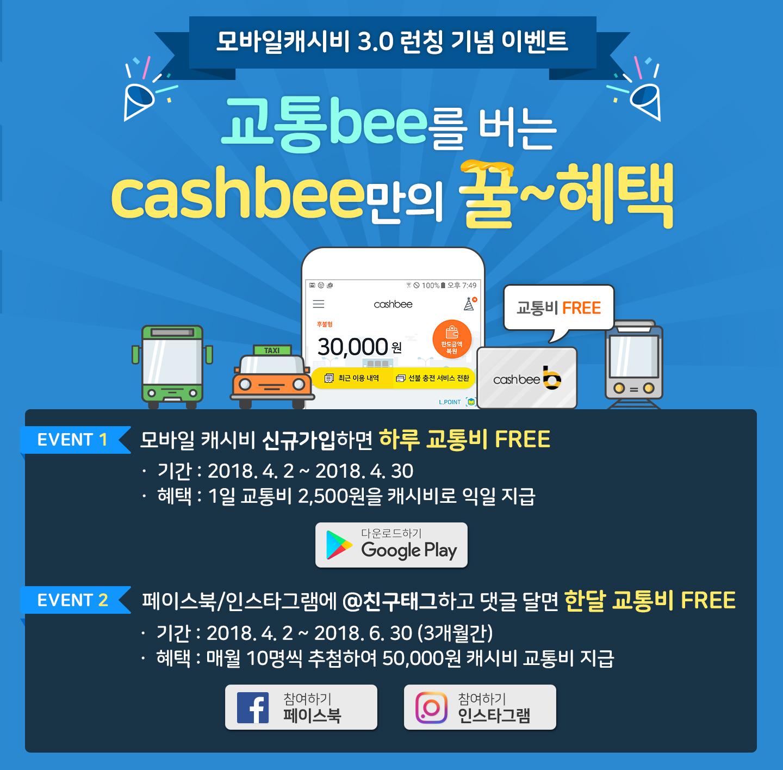 모바일캐시비 3.0 런칭기념 이벤트:교통bee를 버는 cashbee만의 꿀~해택
